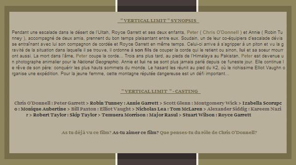 """01/11/12 - La chaîne M6 diffuser le film """" Vertical Limit """" avec Chris O'Donnell dans le rôle principale"""