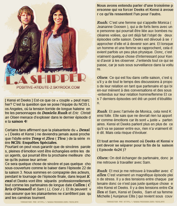 Interview de Daniela Ruah et de son co-star Eric Christian Olsen concernant le 4x23 pour TV Guide Magazine