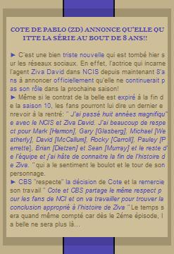 Notre belle Cote De Pablo alias Ziva David annonce qu'elle quitte la série NCIS pour de bon!
