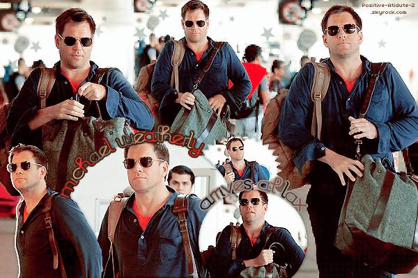 04/08/13 - Michael Weatherly à été aperçut - avec ses bagages - à l'aéroport de LAX ( Los Angeles ).