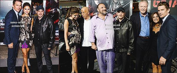 26/08/13 : La belle Selena a été présente à l'avant première de  - Getaway qui s'était tenue à Los Angeles !  Selena est apparue avec son co-star Ethan Hawke . Elle portait une robe dessinée par Vera Wang et des escarpins Jimmy Choo.