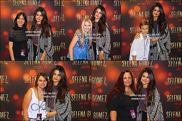 30/10/13 : Comme à chacun de ses concerts, Selena Gomez donnait un Meet&Greet avec ses fans de Tampa   Le « Stars Dance Tour » se termine à la fin du mois de novembre, mais Selena Gomez a ajouté des dates en Asie pour janvier 2014