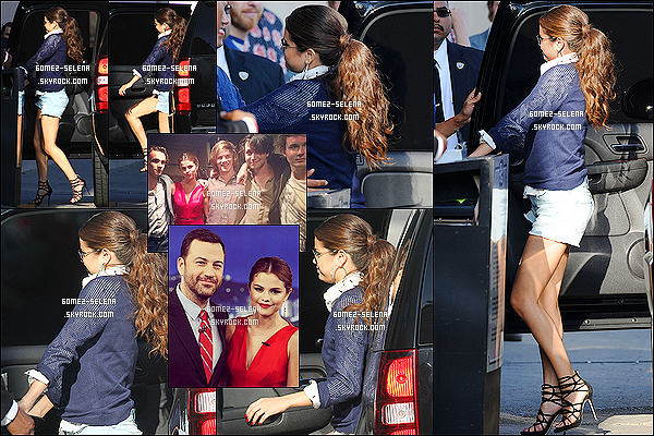 01/08/13 : Selena a été vue arrivant à l'émission « Jimmy Kimmel » dans Hollywood puis en est repartit !  Lors de cette émission, Selena a parlé de son nouvel album qui a beaucoup de succés ainsi que de sa soirée d'anniversaire.