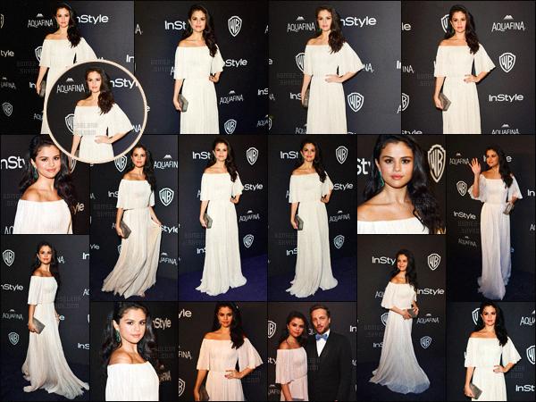 - 10/01/16 - Selly Gomez prenait la pose lors de l'after-party des « 73rd Golden Globes » à Beverly Hills !Sel Gomez montre enfin le bout de son nez en cette nouvelle année ! La belle a opté pour une robe blanche vaporeuse très simpliste, mais élégante.-