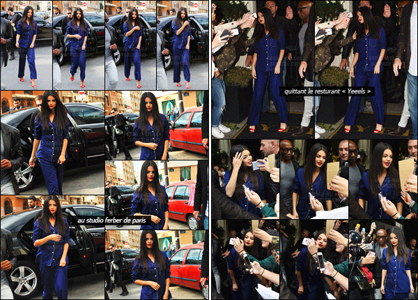 . 26/09/2015 - Dans la matinée, Selena Gomez quittait son hôtel de résidence se trouvant à Paris en France ! Par la suite, la belle a été photographiée en quittant le studio Ferber dans une autre tenue - sans compter un arrêt au restaurant « Yeeels ». Un top ?! .