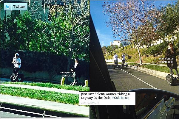 Selena ainsi que son ex-boyfriend Justin ont été vue en segway à Oaks, dans Calabasas.