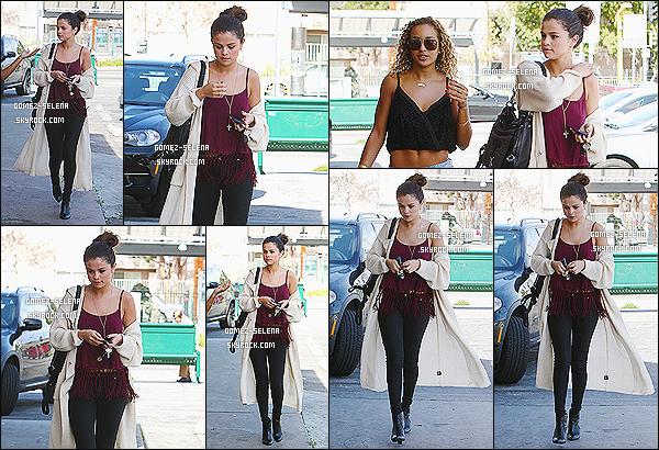 12/02/14 :   Selena les yeux bouffis, a fait un arrêt rapide  à un « 7-Eleven » pour acheter un slurpee  à Los Angeles  La jeune actrice était en compagnie d'une de ses anciennes danseuses, Aja DePaolo. Selena a l'air vraiment très fatigué! Qu'as-tu fait ?