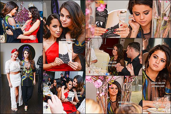 06/05/14 :  Selena G. était à une soirée pour la sortie du livre de Mirtha M « Letters To The Men I Have Loved ». Selly Gomez était accompagnée par son amie danseuse Charity, j'aime bien la tenue, de Selena, son maquillage et sa coiffure ... Top !