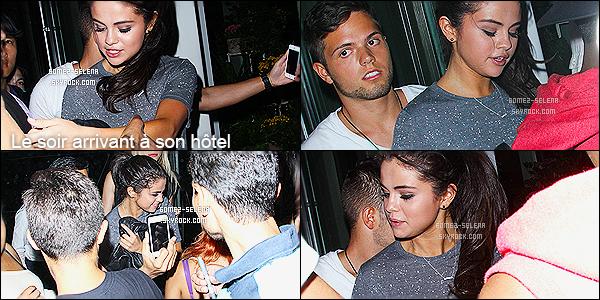 10/07/14 : Selena G   a été aperçue arrivant puis enfin  quittant un restaurant  mexicain toujours dans  New-York. J'aime bien sa tenue, mais sans plus. Je n'irais pas jusqu'à dire que c'est un énorme top. Sinon j'aime beaucoup sa veste on va dire - BOF.