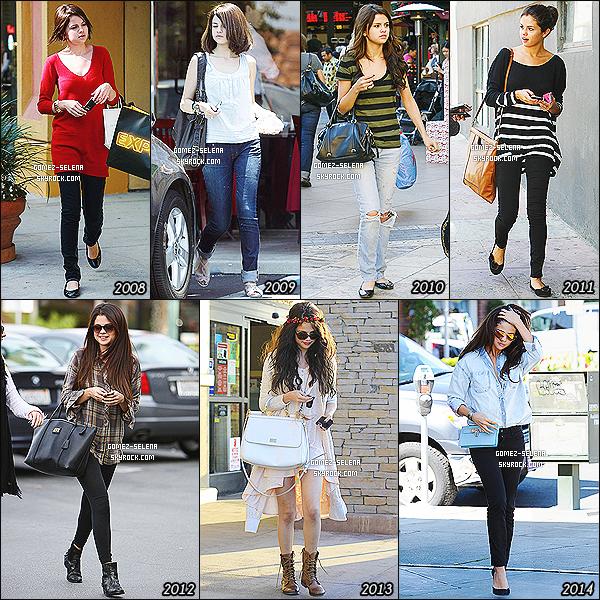 ______ __• RUBRIQUE STYLES : Évolution du look de Selena Gomez__ _----=-=__-__+ -Depuis 2008 le style de Selena Gomez a subit une évolution. Et heureusement !       Si Selena Gomez est considéré aujourd'hui comme une icône mode, ayant d'ailleurs une ligne de vêtements dédié à ses fans, elle n'a pas toujours été une carte de mode. Depuis 2008, la jeune actrice et chanteuse est suivit par les paparazzi. À 16 ans, pour Selena, se tenue se résumait à des longs pulls et des jeans puis des t-shirt de groupe. Un an après son look « évolue » soit tant un peu, des débardeurs et des couleurs plus clair sont au rendez-vous, un style un peu plus classe et sage. On ne se cachera pas pour dire qu'entre 2010 et 2011, le look de miss Gomez n'évolue pas trop : encore des jeans et des rayures ! Enfin en 2012 Selena dit adieu à ses ballerines et chaussures plates, après tout elle est une femme maintenant. On voit une nette amélioration à partir de cette année. Selena passe par plusieurs styles de tenue, autant dans la rue que sur les red carpet, elle passe même par la phase à bindies indiens, une tendances des dernier temps. On peut dire que maintenant, elle peut réellement porter le titre de modèle en mode. -Considère-tu Selena comme une icône mode ?