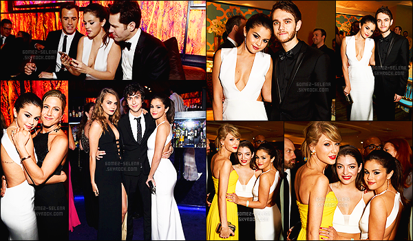 - 11/01/2015 : Selena Gomez était présente au « 72nd Annual Golden Globes Awards » organisé par InStyle ! Selena était en compagnie du talentueux DJ Zedd et de sa fidèle amie Cara Delevingne. Côté tenue rien à redire, elle était tout simplement sublime. -