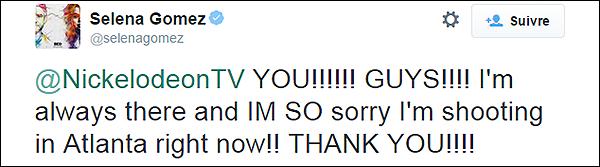 . 27/03/15 - Sel Gomez tournait à nouveau des scènes pour le film « In Dubious Battle », dans Atlanta ! S. ne pouvait malheureusement pas être présente à la cérémonie des Kids Choice Awards pour cause de tournage, découvrez le message dessous. .