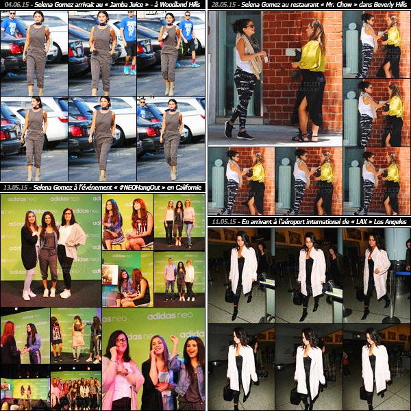 - Rapide article récapitulatif des sorties de miss Selena Gomez pendant ce mois de printemps, en mai !Découvrez les candids et événements auxquels Selena Gomez a participé lors du mois de mai. Entre tournage de films, la demoiselle est occupée ...-