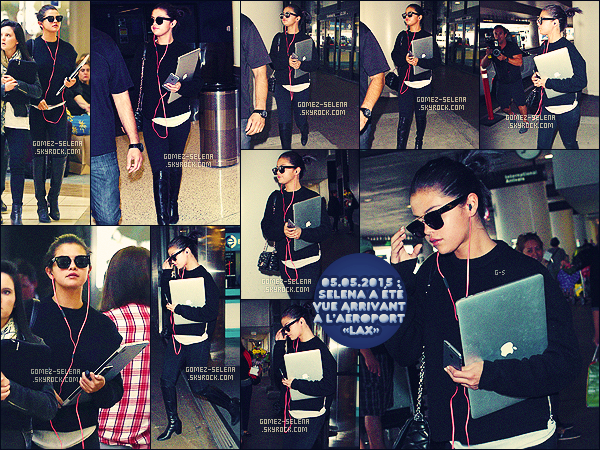 . 05/05/15 - Selena Gomez a été aperçue alors qu'elle arrivait à l'aéroport international de « LAX », à LA ! Le lendemain, Selly Gomez était présente lors du « Louis Vuitton Cruise 2016 » à Palm Springs, avec d'autres actrices comme Britt Robertson. Top ? .