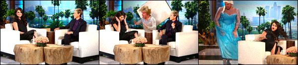 . 09/10/15 -Selena Gomezétait sur le plateau télévisée du - «Ellen DeGeneres Show» à Los Angeles. À l'occasion de la sortie de son nouvel album REVIVAL, notre belle Selena Gomez était l'invitée d'honneur de la célèbre animatrice du talk-show Ellen DeGeneres Showpour y donner une interview en exlusivité, qui, avait réserver quelques petites frayeur a miss Gomez. Cette dernière à donc donner une performance exclusif pour la première foisson dernier titre« Same Old Love» sortit récemment en tant que deuxième single. .