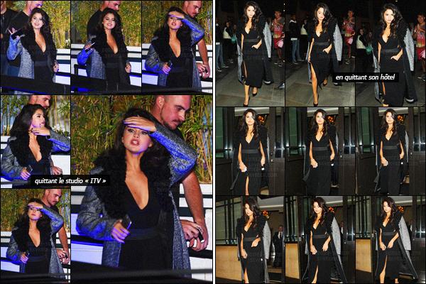 - 23/09/15 - Plus tard, miss Selena Gomez arrivait aux studios télévisés « ITV », dans la ville de Londres !Peu après, Selena G. quittait le studio dans un autre tenue et puis elle a été photographiée en quittant l'hôtel « Dorchester  » dans la ville de Londres.-