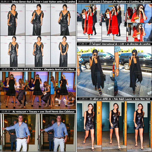 - Rapide article récapitulatif de la mi-septembre et des nombreuses sorties de la belle Selena Gomez !Découvrez les candids et événements auxquels Selena Gomez a participé lors de ce mois de septembre ! Entre promotions et défilés, c'est chargé...-