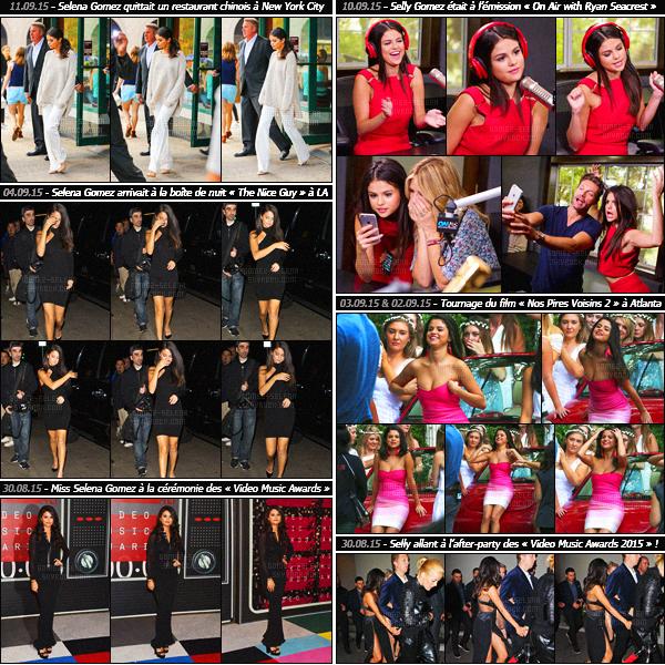 - Rapide article récapitulatif du début du mois de septembre et de la fin d'août de miss Selena Gomez !Découvrez les candids et événements auxquels Selena Gomez a participé lors de ce mois de septembre ! Entre promotions et défilés, c'est chargé ...-