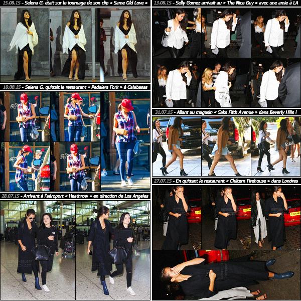 - Un rapide article récapitulatif des sorties de Selly Gomez - du début du mois d'août et la fin de juillet !Découvrez les candids et événements auxquels Selena Gomez a participé lors des deux mois de vacances ! Entre promo' et events, c'est très chargé.-