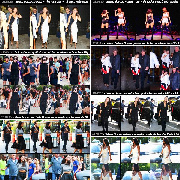 - Rapide article récapitulatif des sorties de miss Selena Gomez, lors du très chaud mois d'août cet été !Découvrez les candids et événements auxquels Selena Gomez a participé lors de ce mois d'août ! Entre promotions et défilés, c'est vraiment chargé.-