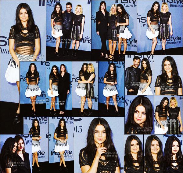 . 26/10/2015 - Selena Gomez était présente au « Instyle Awards 2015 » se déroulant à Los Angeles ! Notre jolie brune était tellement mignonne lors de cette cérémonie, celle-ci posait aux côtés d'autres célébrités comme l'élégante Dakota Johnson .