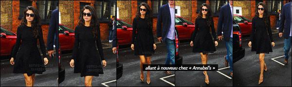 - 24/09/15 - Selena Gomez quittait le restaurant anglais « Annabel's » à Londres pour y revenir en soirée.Ce restaurant et boîte de nuit aura accueillit Selena Gomez deux fois dans un journée ! Selena G. ne cesse de défiler dans des tenues les plus jolies !-