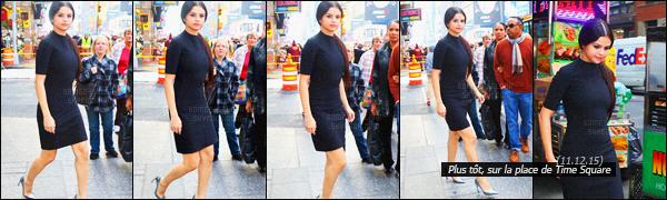 - 11/12/15 - Selena Gomez performait sur la scène du « Z100's Jingle Ball » au Madison Square Garden de NYPlus tôt, Selena a été photographiée à Time Square pour admirer la géante publicité de la marque Beat pour son prochain clip Hands To Myself ! -