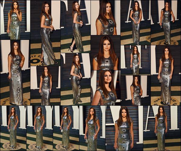 - 28/02/16 - Selly Gomez prenait la pose lors des « Vanity Fair Oscar Party » à Beverly Hills, Californie !C'est plus scintillante que jamais que S. a fait son entrée sur le tapis de l'after-party des Oscars, affublée d'une pièce de Louis Vuitton rien de moins.-