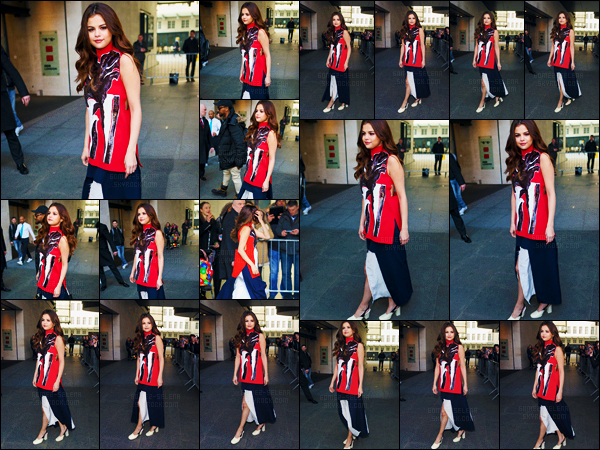 - 11/03/16 - Un peu plus tard, la chanteuse Selena Gomez quittait les studios de « BBC Radio One » à Londres ![/s#00000ize]Il faut croire que Selena amène sa garde-robe complète à chaque fois qu'elle passe par une radio ! J'aime beaucoup mais les chaussures, alors non... -
