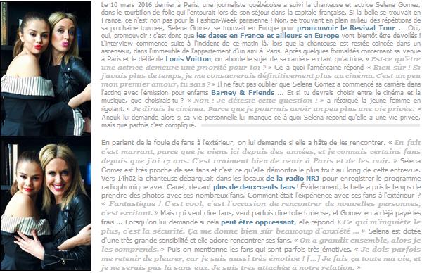 Article divers ─ Tout ce qu'il y a à savoir sur ce qui a été dit lors de « Accès Illimité » avec Selena Gomez à Paris ![/s#00000ize]Le public Québécois a eu la chance dans savoir un peu plus sur le quotidien de la chanteuse de 23 ans, qui a été suivie par Anouk Meunier à Paris ... [/alig fen]