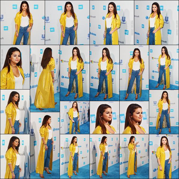 - 07/04/16 - Selly Gomez était présente lors de l'événement de la fondation « We Day » dans la ville d'Inglewood.[/s#00000ize]Étant une porte-parole de la fondation, Selena a performé pendant l'événement qui avait lieu cette fois à Los Angeles. Un avis sur ses deux tenues ? -