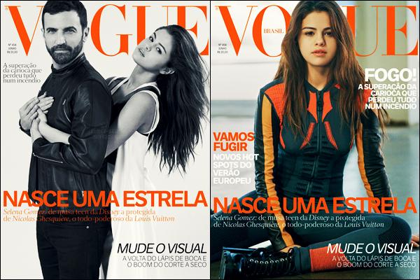 - ─ Découvrez cette fois deux couvertures pour le célèbre magazine « Vogue » pour l'édition du Brésil avec S. [/s#00000ize]C'est pour le mois de juin que Selena sera à l'honneur du magazine Vogue Brasil ! N'hésitez pas à donner vos avis - un photoshoot surement à suivre ... -