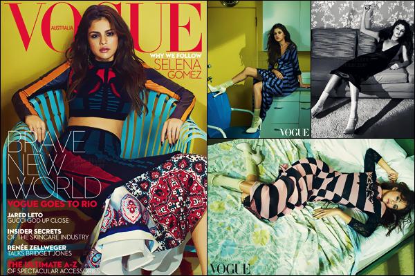 - ─ Découvrez la magnifique couverture pour « Vogue ─ Australia » ainsi que le superbe photoshoot connexe ! [/s#00000ize]Pour le mois de septembre 2016, c'est Selena Gomez qui sera à l'honneur du magazine Vogue version australienne ! Thématique quelque peu rétro.  -