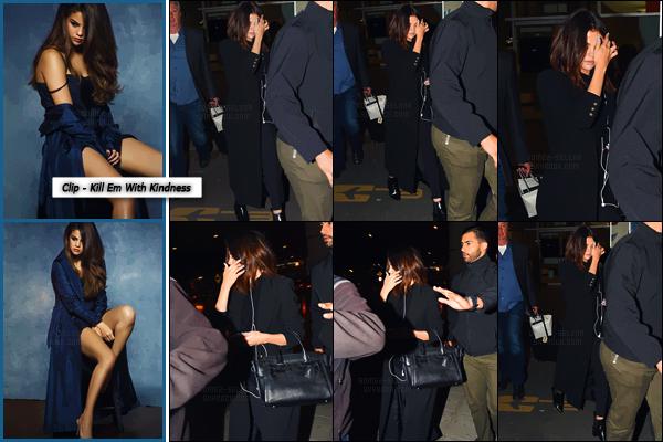 - ''24.03.17'-''─''Selena Gomez quittait l'aéroport international « El Dorado » dans la ville de Bogota, en Colombie ![/s#00000ize]Aucune information quant à la raison de la présence de la chanteuse en Colombie. Découvrez deux clichés couleurs du vidéoclip Kill Em With Kindness. -