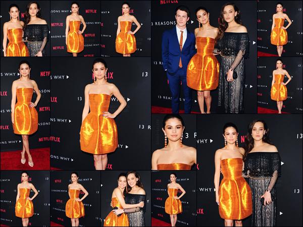 - ''30.03.17'-''─''Selena Gomez était à l'avant-première de la série « 13 Reasons Why » pour Netflix à Los Angeles ![/s#00000ize]Le nouveau projet de Selena et de sa maman sera dévoilé le 31 mars sur Netflix : les treize épisodes de la nouvelle série, qui sera très prometteuse... -