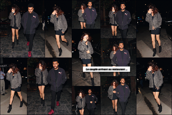 - ''06.04.17'-''─''Selena Gomez quittait le restaurant lounge « Beauty & Essex » avec Abel Tesfaye à Hollywood, CA.[/s#00000ize]Cherchant à se cacher des flashs agressant des photographes, c'est aussi main dans la main que le couple quitte le restaurant et aussi bar dans la soirée. -