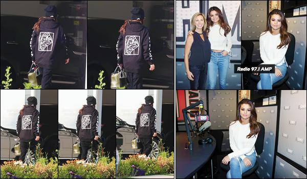 - ''07.06.17'-''─''Selena Gomez a été aperçue en rentrant à sa maison, dans la grande ville de Los Angeles (CA). [/s#00000ize]De retour à la cité des anges, ce n'est pas pour autant que la chanteuse s'arrête. Le lendemain, elle était dans le locaux de la radio 97.1 AMP. Des avis ?! -