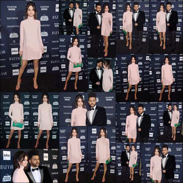 - '-08/09/17-'''✈''Selena Gomez arrivait à la soirée de « Harper's Bazaar Icons » avec son boyfriend The Weeknd. Soirée à laquelle plusieurs personnalités étaient présentes, tel que Kendall Jenner ou encore Hailey Baldwin. Le couple a posé ensemble sur le red carpet.-