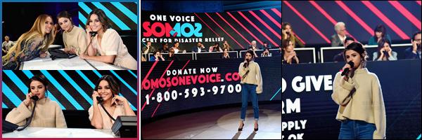 - '-14/10/17-''''✈''Selena Gomez participait à la collecte de fonds « One Voice: Somos Live! »  à Los Angeles en CA. Comme de nombreuses célébrités, dont son amie Vanessa Hudgens, Selly amassait des fonds par téléphone pour les précédentes catastrophes naturelles.-
