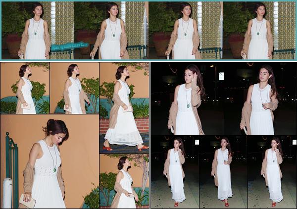 '- '-◊-09/02/18-' : Selena Gomez quittait le restaurant mexicain « Ernie's » se trouvant dans le North Hollywood. La belle brune nous fais une toute nouvelle sortie nocturne, où elle était sublimement apprêtée pour la soirée. C'est un gros coup de c½ur pour ma part !-