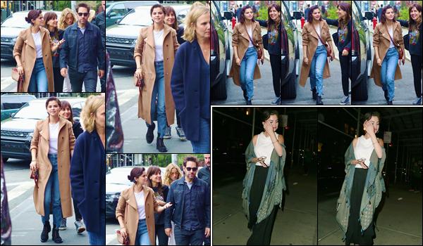 - ''•-06/05/18-' : Selena Gomez se rendait dans un restaurant avec des amis, toujours dans la ville de New York. Selena était accompagnée entre autre de Rooney Mara, Paul Rudd ainsi que Justin Theroux. En soirée, la belle s'est rendue dans un spa de la ville de NY. -