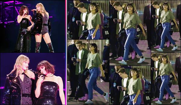 - ''•-19/05/18-' : Selena Gomez se trouvait sur la scène du concert « Reputation Tour » dans la ville de Pasadena. C'est sur la scène du stade où sa meilleure amie, Taylor Swift, se produisait ce soir-là que notre belle brune a fait une apparition surprise ! Un petit bof... -