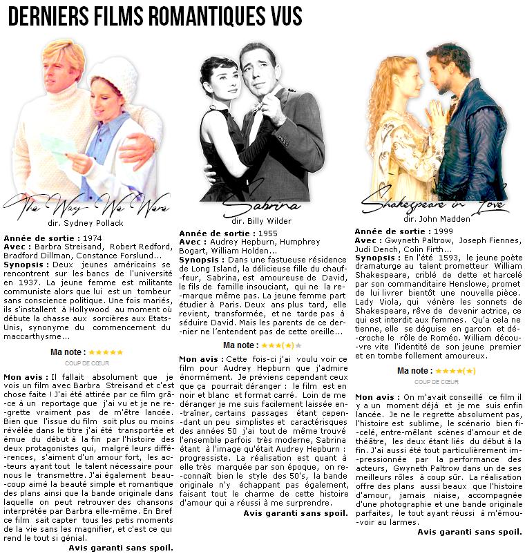 Cinéma   Derniers films romantiques vus