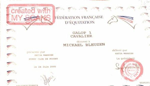 Voici mon diplôme examain premier galop passée en juin 2005