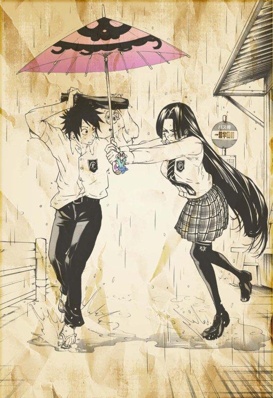 Luffy et Hancock sous la pluie