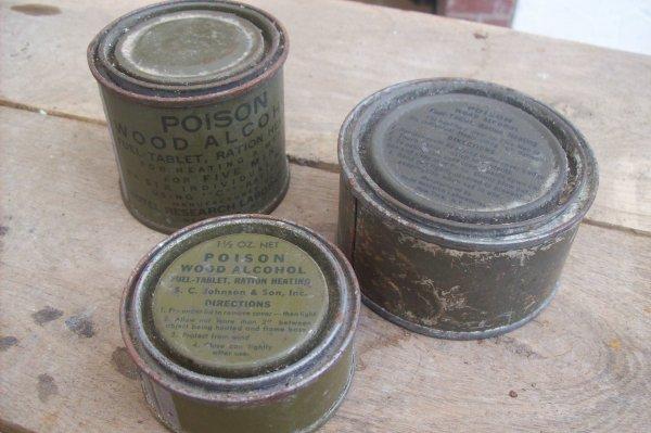lot de pots d'alcools gèlifié us. ( 3 modèle ) ORIGINAL WW2