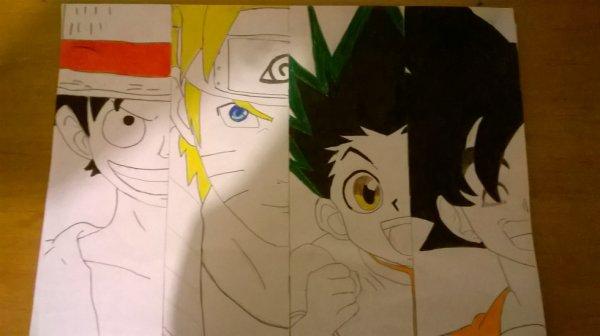 Déssin Luffy/Naruto/Gon/Son Goku