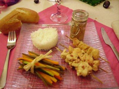 Brochettes de poulet et son fagot de légumes