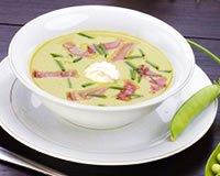 Soupe de légumes verts et dés de jambon blanc
