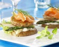 Toasts de pommes de terre aux asperges et au saumon